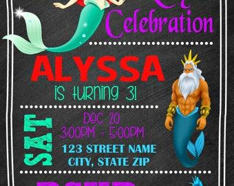 The Little Mermaid Chalkboard  Invitation - Disney Princess Ariel Birthday Party Invitation - Birthday Party Invite - Digital - Customized
