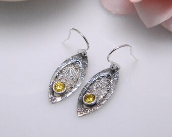 Elegant Silver Earrings, Yellow gem stone, modern, classic, dangly earrings, delicate, filigree, yellow cubic zirconia, silver dangle, love
