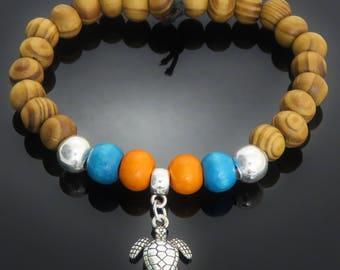 Turtle Silver Tone Charm, Turquoise Blue & Orange Wood, Burly Wood Bead Bracelet surfer yoga meditation mens ladies gift jewellery UK SELLER