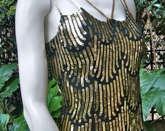 LORIS AZZARO 1970 Golden Sequins Sheath Dress