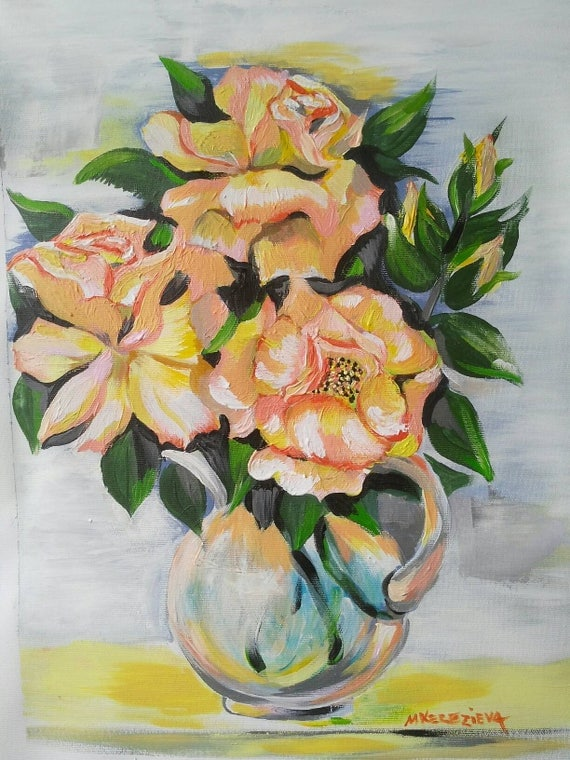 Yellow roses original acrylic painting | Best image of Msmu Canvas
