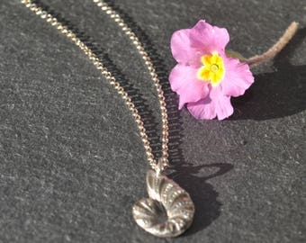 Handmade Fine Silver Ammonite Fossil Necklace Fossil necklace, silver fossil pendant, mothers day gift, mothers day jewellery, silver fossil