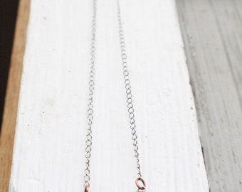 Copper and Silver opal necklace - Rustic - Handmade