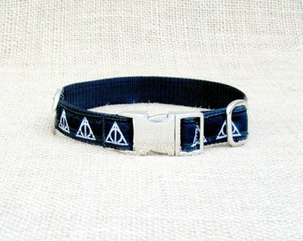 "Harry Potter and the Deathly Hallows Inspired Dog Collar~ 3/4"" or 1"" Wide Woven Jacquard with Metal Side Release Buckle"