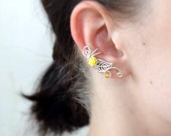 Flower earrings Ear cuff no piercing Yellow earrings Silver ear cuff Unique Earrings Girlfriend gift Dainty ear cuff Ear wrap Cuff earrings