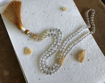 Clear Crystal and Champagne Quartz Knotted Mala with Lux Silk Tassel / Meditation / 108 / yoga / boho chic/