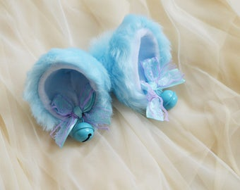 Kitten play clip on cat ears with ribbon bows and bell - neko lolita cosplay costume - kitten play gear accessories - purple and baby blue