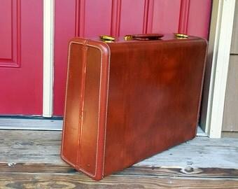 VINTAGE SUITCASE Large Brown Suitcase Samsonite Hardside Mid Century Samsonite Luggage Wedding Card Box Boombox Craft Project Suitcase