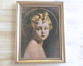 "Vintage Catholic Wall Art: Framed ""Light of the World"" Child Jesus ~ 1930's Religious Lithograph"