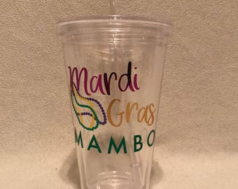 Mardi Gras Mambo Mardi Gras Tumbler with Lid and Straw