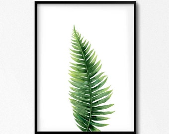 Fern Print. Leaf Watercolor. Fern Leaf. Botanical Illustration. Plant Watercolor. Fern Poster. Nature Wall Art. Scandinavian Poster. Foliage