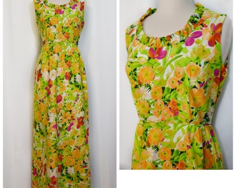 70s Green/Orange/Pink Floral Maxi with Ruffled Collar