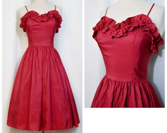 Red Taffeta 80s-Does-50s Dress