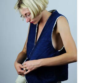 FAUX FUR DENIM 1970's Vintage Vest, Denim & Faux Fuzz Fur