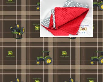 Brown Plaid Tractor Blanket Tractor Toddler Bedding Cars Crib Blanket Cotton Minky Blanket Girl Crib Bedding Tractor Crib Bedding