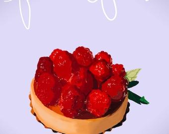 Raspberry Tart Digital Painting