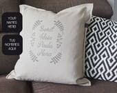 Pillow with family names,...