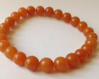 Orange aventurine beads 8mm simple bracelet