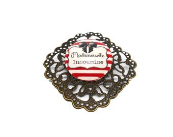 "SALE 50% humor insult - sweet words ""Miss cheeky"" brooch"