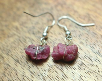 925 Sterling Silver Handmade Earrings Sterling Silver With Natural Ruby Gemstone