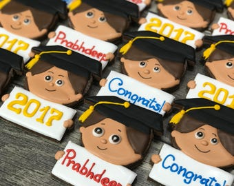 Personalized Grads cookies with names or greetings- Boy and/or Girl  Graduation cookies, Graduation cookie favors, school graduation cookies