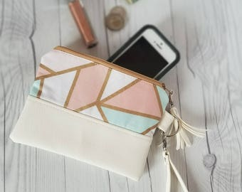Pink Teal White Pastel Wristlet Wallet, White Faux Leather, Wristlet Purse, Womens Wallet, Phone Wallet, Clutch, Birthday Gift, Birthday