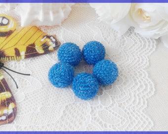 Dark blue earrings beads Handmade Beaded beads DIY jewelry beads 16 mm Navy blue glass round beads  Cute artisan beads Loose beads