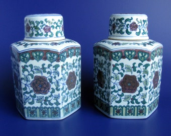 "Large Chinese Hexagonal Ginger Jars / Porcelain Ginger Jars / Hand Painted Chinoiserie Jars / Mid Century / 8"" / Temple Jars / Set Of 2"