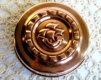 70,s / Swedish Copper Mold / Cake / Jelly / Dessert / Mold / Sweden / Viking Ship / Rustic / Wall Decor / Tin Lined/ Scandinavian / Cottage