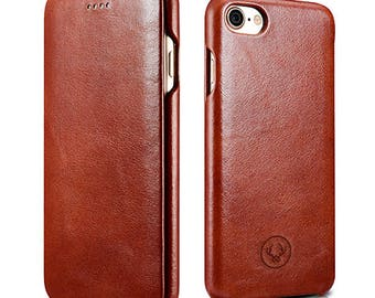 iPhone 7 Case Minimal Beautiful hand crafted Leather Apple iPhone Flip Cover Genuine Cow Leather perfect phone case in Brown colour