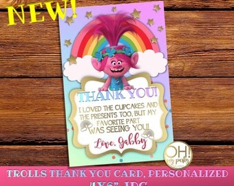 Trolls Thank You Card personalized,trolls Birthday invitation,poppy thank you card, trolls birthday,poppy, trolls party, trolls printable