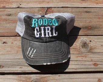 Rodeo Girl Teal Trucker Hat