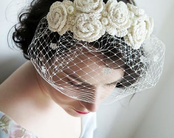 Ivory bridal flower crown, birdcage veil, flower crown, wedding headpiece, crochet flower crown, lace headpiece, vintage veil, blusher veil