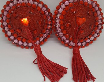 Red and Pink Rhinestone Nipple Pasties Hearts
