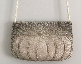 FREE US SHIPPING | Vintage 80s Shimmery White and Silver Beaded Purse w Long Shoulder Strap