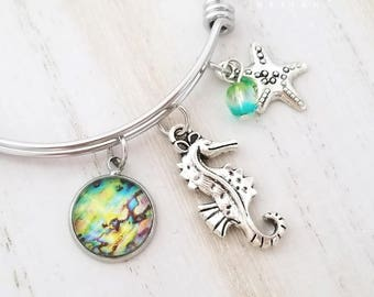 Seahorse Bangle Bracelet-Abalone Shell-Stainless Steel Bracelet-Starfish Bracelet-Seashell Jewelry-Beach Jewelry-Coastal Collection