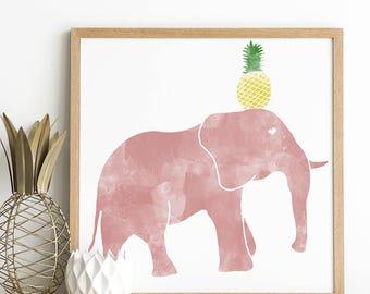 Elephant Print - Elephant Nursery - Animal Print - Elephant Baby Shower - Elephant Wall Print - Elephant Nursery Art - Safari Nursery Art