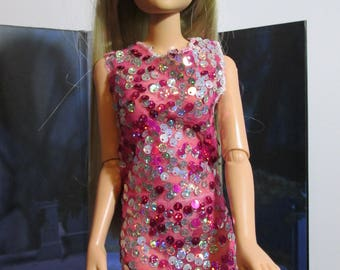 Handmade Doll Clothes, Sheer Sequined Evening Gown with Scarf and undies, Fits 20 inch Hasbro Lorifina bjds