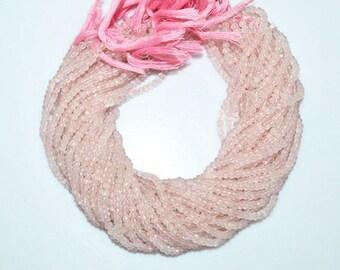 "1 Strand Good Quality Rose Quartz Rondelle Beads , Rose Quartz Faceted Rondelle Beads , Sold By Strand , 4.25 mm , 13"" - MC1244"