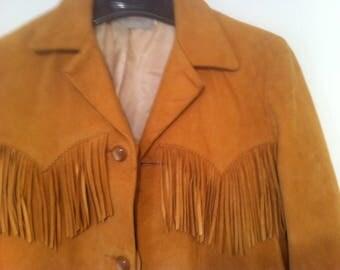 Vintage Ladies Tan Suede Fringe Western Jacket, Indian Theme, Size 14, Pioneer Wear, Albuquerque