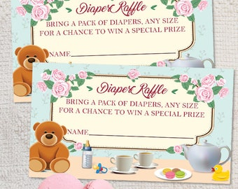 "Printable Tea Party Baby Shower Diaper Raffle Card, 3.5""x2"", JPG Instant Download"