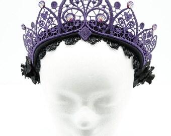 Purple filigree lace crown kokoshnik / stiff pointed Crown in purple