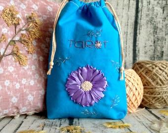 Shiny Flowery Tarot Bag, Tarot Deck Bag, Embroidered Tarot Card Bag, Tarot Purse, Tarot Pouch, Tarot Case, OOAK