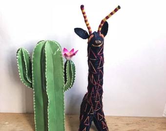 Mexican doll, wool doll, handmade doll, mexican folk art, mexican folk toy, giraffe gift, stuffed animal, nursery decor, kids room decor
