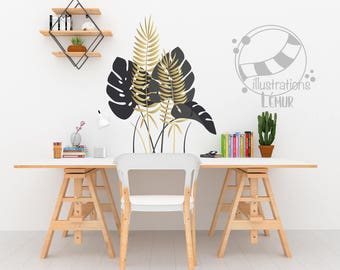 Tropical leaves, ferns and Mönsterås, plant decorative wall decals, vinyl sticker wall decoration
