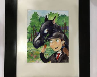 Watercolor of popular novel Black Beauty by Anna Sewell