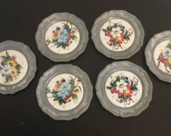 Vintage DRINK COASTERS Set Of Six, Flower Decor, Metal And Ceramic Drink Coasters, Home And Living, 1980's Decor, Floral Drink Coasters