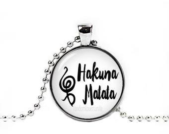 Hakuna Matata Necklace Hakuna Matata Pendant Swahili phrase No Worries Quote Necklace Lion King