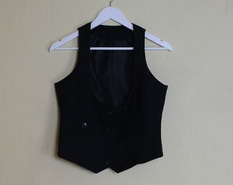 Women's Black Vest Black Stripped Waistcoat Black Waistcoat Stripped Waistcoat Formal Vest Fitted Vest Steampunk Medium Size
