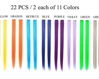 Bundle 22 pieces of 22 Inches Multi-Colors Party Highlights Clip In Synthetic Hair Extensions Cosplay